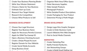 Free Printable Craft Business Startup Checklist