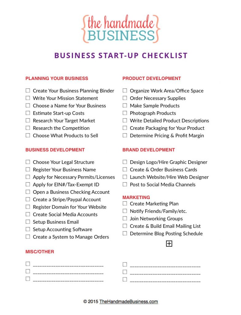 free printable business startup checklist